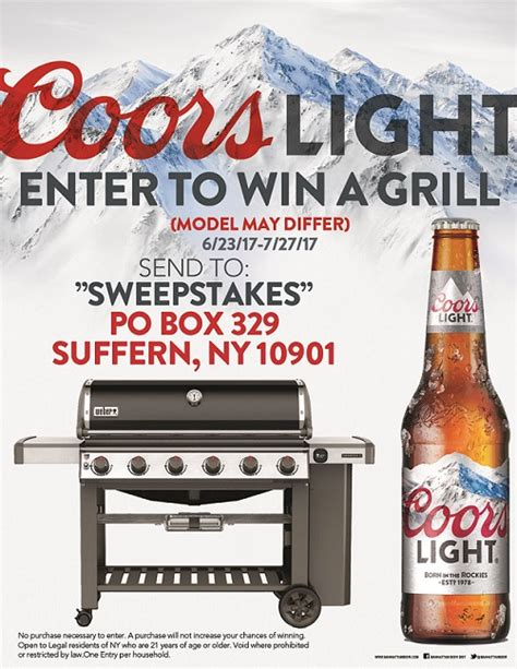 Mail In Sweepstakes List - win a grill from coors light king kullen