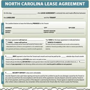 North Carolina Lease Agreement Nc Residential Rental Agreement Template