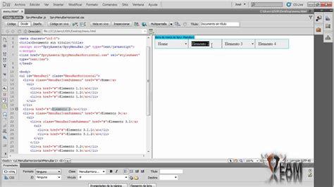 tutorial html dreamweaver cs5 men 250 desplegable en dreamweaver cs5 youtube
