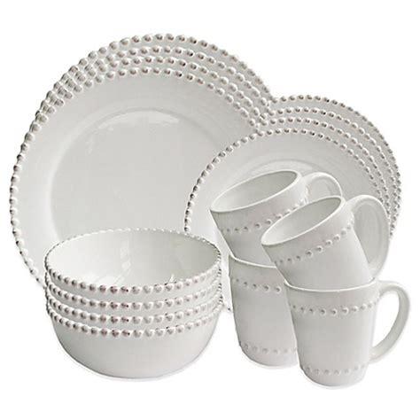 white beaded dinnerware set bead 16 dinnerware set