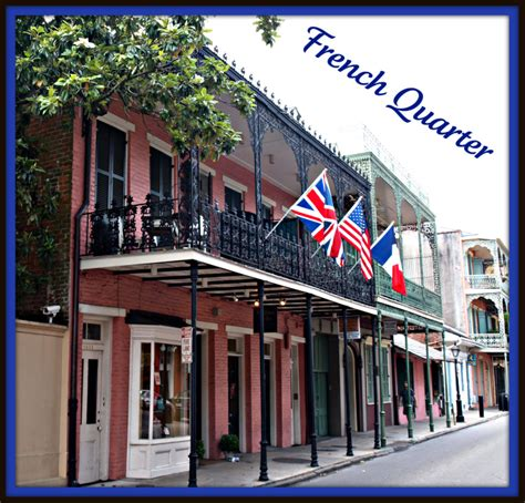 New Orleans French Quarter, Balconies and Flags.   Golf