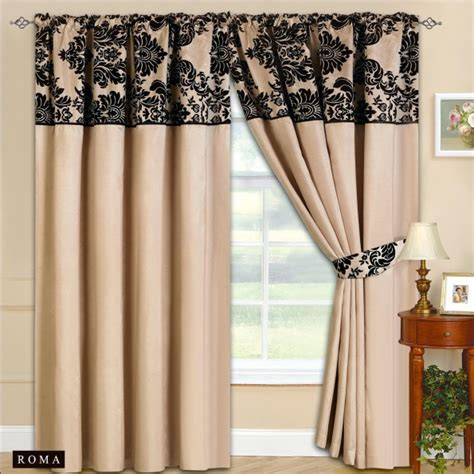 Black And Beige Curtains New Fully Lined Ready Made Top Curtains Beige With Black 2 Tie Backs 7 Luxury Colours