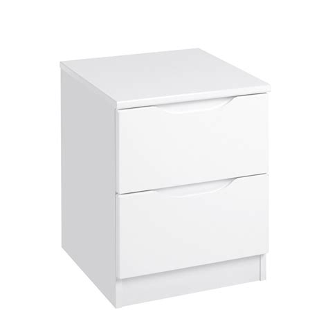 White Gloss Bedside Drawers by Davos 2 Drawer Bedside Chest White Gloss