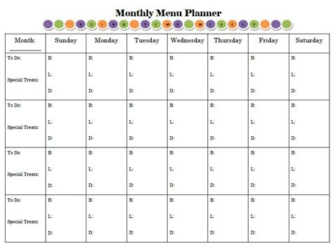 printable blank monthly menu planner planning for success print and display your menu planner