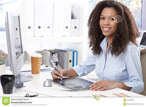 Office Worker At Desk Smiling Office Worker With Drawing Table Royalty Free Stock Image Image 31218936