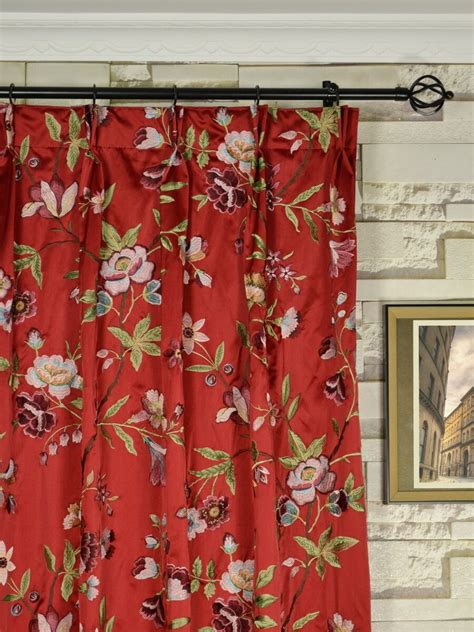 red flower curtains silver beach embroidered cheerful double pinch pleat faux