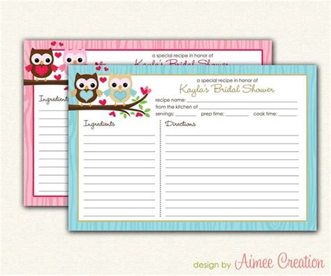 owl printable recipe cards 17 best images about free printables on pinterest