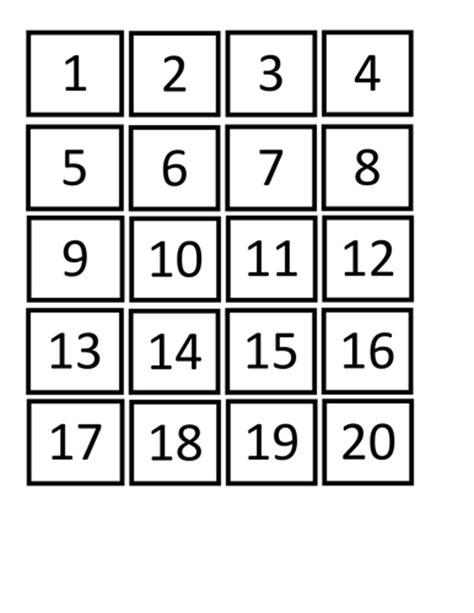 printable number tiles 1 20 general basic skills resources by h4nn4hww teaching