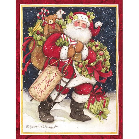 printable christmas cards walmart lang snowy night santa boxed christmas cards walmart com
