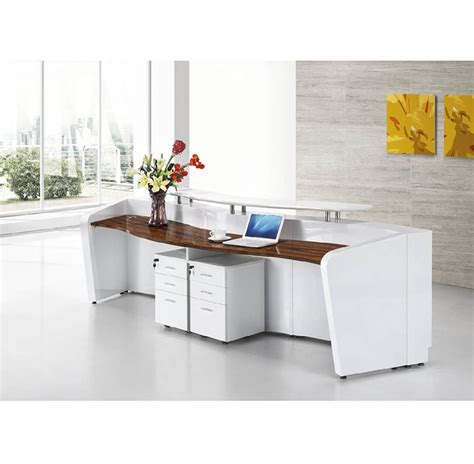 white color 2 person standing reception desk cheap curved