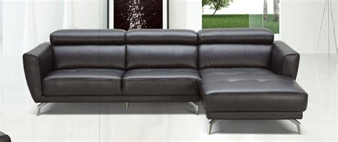 Contemporary Sectionals Black Leather Contemporary Sectional Sofa With Tufted