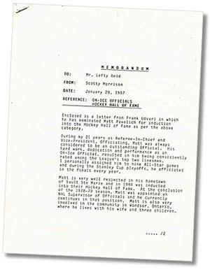 Hockey Release Letter Memorandum Sent By Scotty Morrison To Lefty Of The