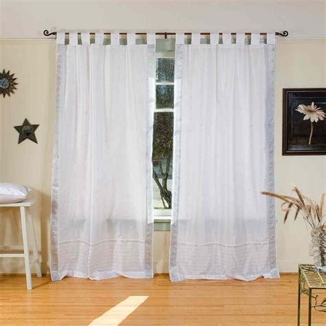 white and silver curtains white silver tab top sheer sari curtain drape panel