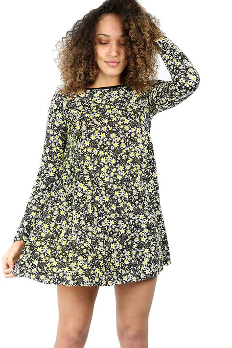 mini swing dress womens ladies flared long sleeve printed shift skater top