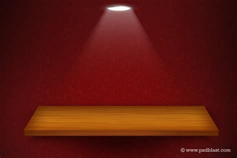 background design exhibition 3d isolated empty shelf for exhibit on red wallpaper