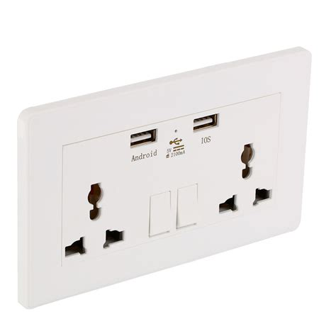 Socket D Ds Rucika 2 wall socket dual 2 usb switch power supply plate universal 2100ma charger ebay