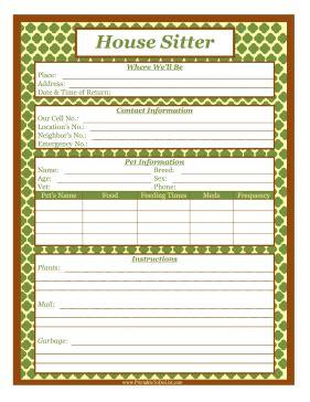 House Sitter List House Sitter Checklist Template