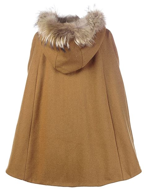 brown pattern poncho discount hight quality brown faux fur trim hooded wool