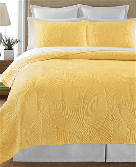 Yellow King Quilt by Martha Stewart Collection Atlantic Palm Yellow King Quilt