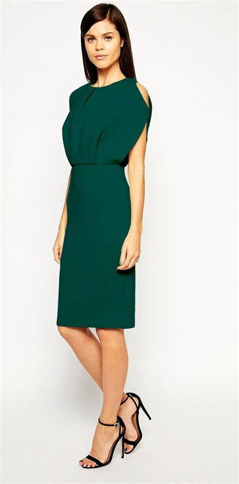 Pretty green dress for winter wedding guests   Wedding