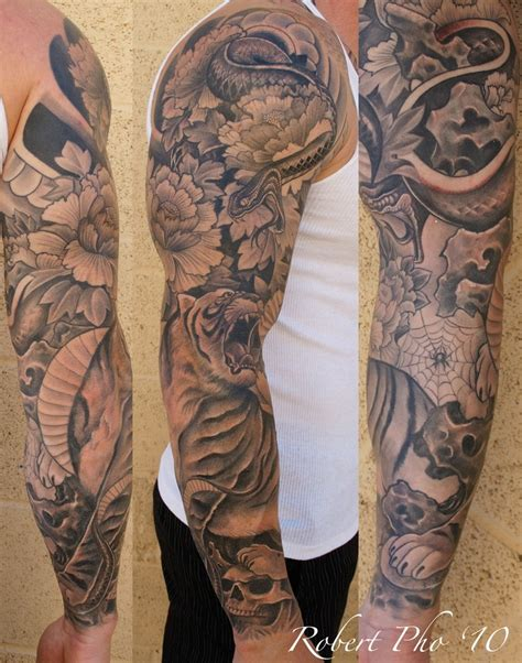 japanese snake tattoo black and grey japanese style tattoo sleeve with tiger and snake tattoo