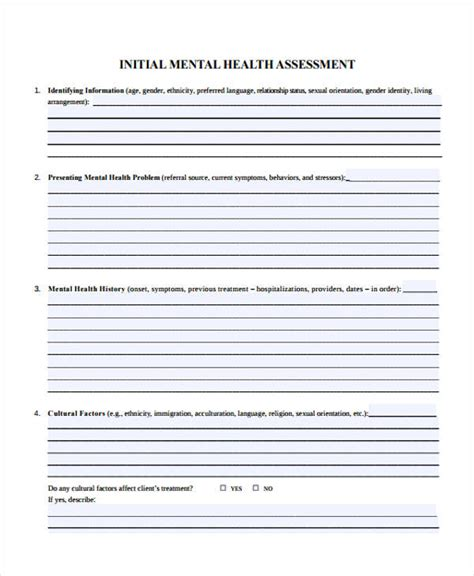 Health Assessment Form Exle Comprehensive Mental Health Assessment Template