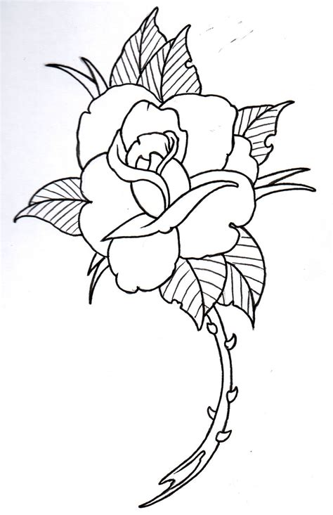 simple rose tattoo outline design outlinedenenasvalencia