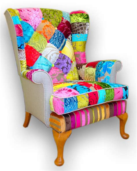Patchwork Chairs Uk - patchwork wing back armchair in designers guild velvets and