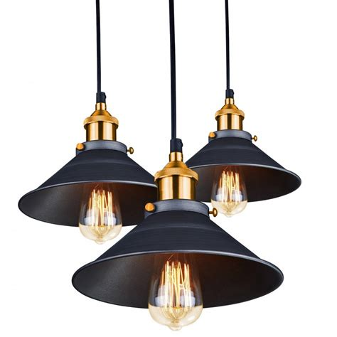 Metal Pendant Lights Arrow Vintage 3 Light Ceiling Pendant Light With Metal Matt Black Shades