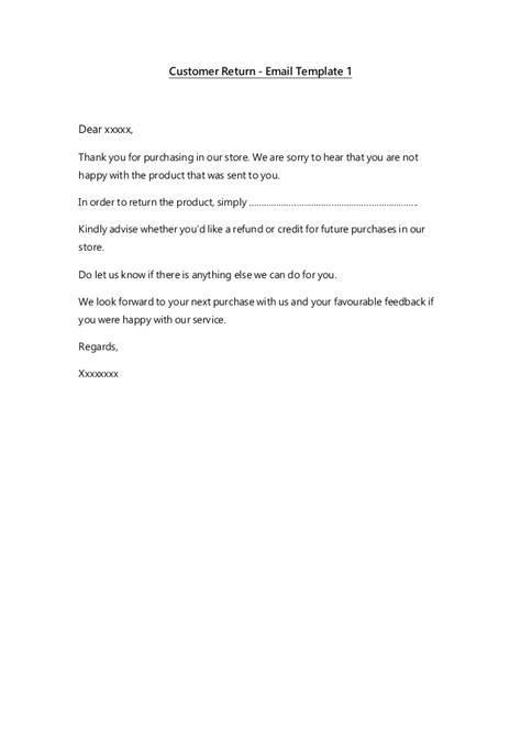 Email Templates Customer Service Return Email Template