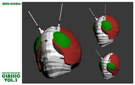 Kamen Rider Helmet Papercraft - paper model kamen rider v3 helmet by madkcmc on deviantart