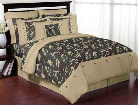 green camouflage boys bedding full queen comforter set