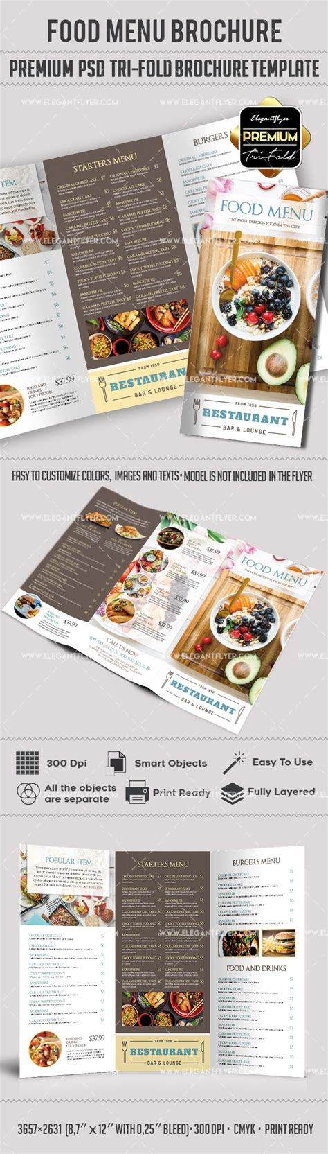 Menu Brochure Template Free by Food Menu Premium Tri Fold Psd Brochure Template By