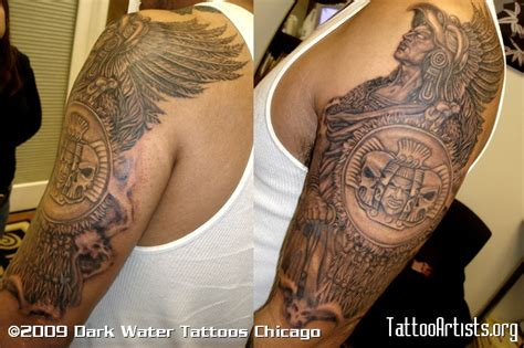 warrior sleeve tattoo designs aztec tattoos and designs