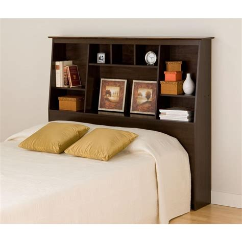 headboard with bookshelf prepac espresso full queen tall slant back bookcase