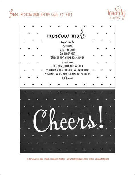 printable cocktail recipes cards moscow mule gift basket free recipe card download