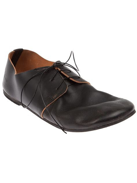marsell shoes marsell curved lace up shoe in black lyst
