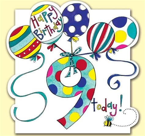 Happy Birthday Wishes For A 9 Year Boy 9 Today Balloons Birthday Card Karenza Paperie