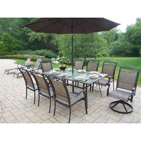 Oakland Living Cascade Patio Dining Set With Umbrella And Patio Sets With Umbrella