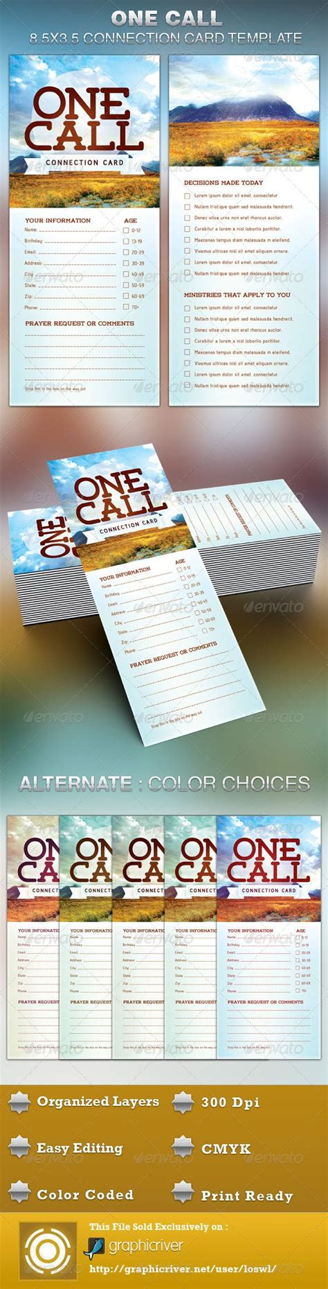 Church Connection Card Template by One Call Church Connection Card Template By