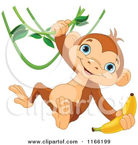cartoon monkey swinging on a vine cartoon of a cute monkey swinging from a vine with a