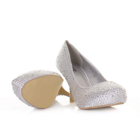 womens low kitten heel diamante satin wedding