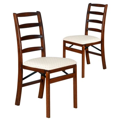 folding dining chairs stakmore shaker ladderback upholstered folding chair set of 2 dining chairs at hayneedle