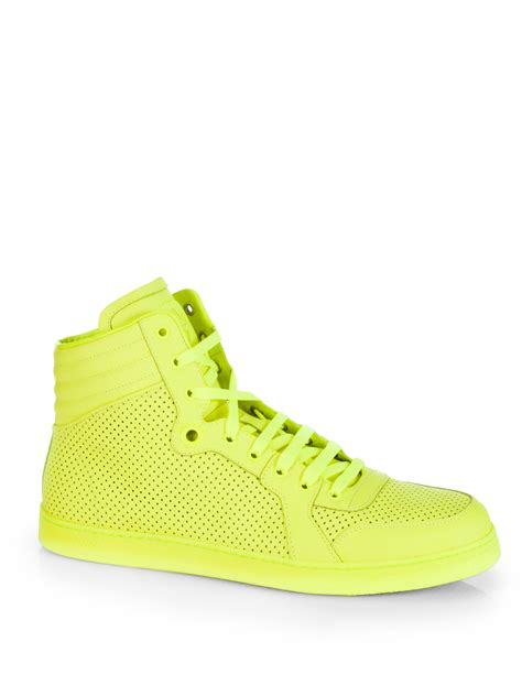 neon gucci sneakers gucci coda neon hightop sneakers in yellow for lyst