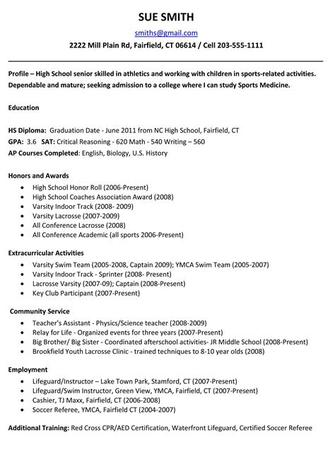 High School Resume by High School Resume Resume Cv