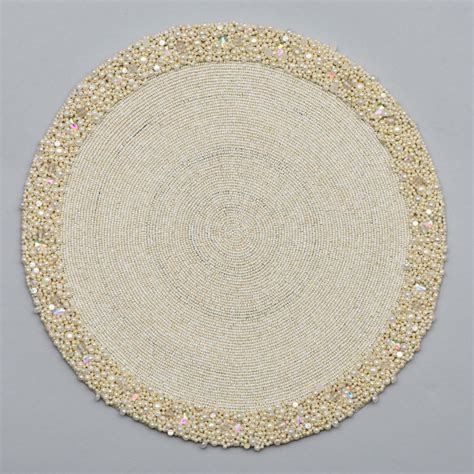 white beaded placemats bead placemat with cluster border nurit k designs