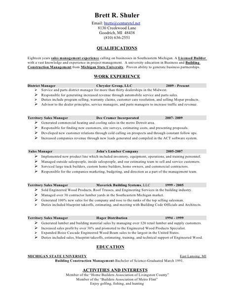 Advertising Resume Sle Sle Resume For Advertising Project 15 Images Resume Of Sales Manager Detroit Area 6