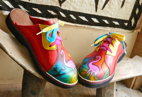 Vintage Those Shoes Handmade Painted - handmade leather lace clogs shoes pink flamingo painted
