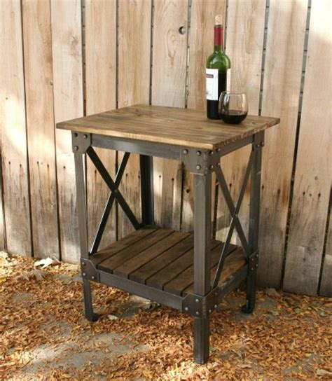 Handmade End Tables - items similar to handmade scrap metal and wood table end