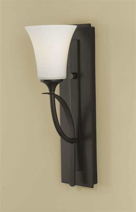 Glass Bathroom Sconce Feiss One Light Rubbed Bronze Opal Etched Glass